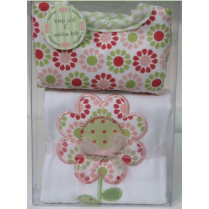 Girl  Burp Pad and Bib Set