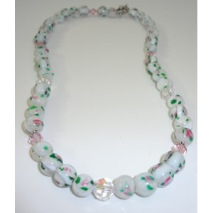 Girls Pink and White Glass Necklace Set