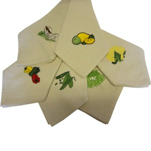 Vegetable Embroidered Napkins set of 6
