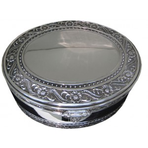 Large Silver Oval Jewelry Box