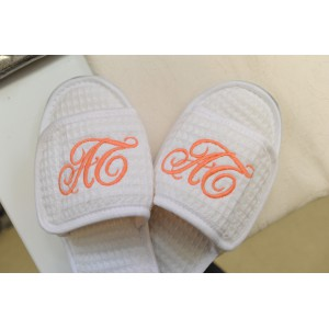 Monogrammed Waffle Slippers