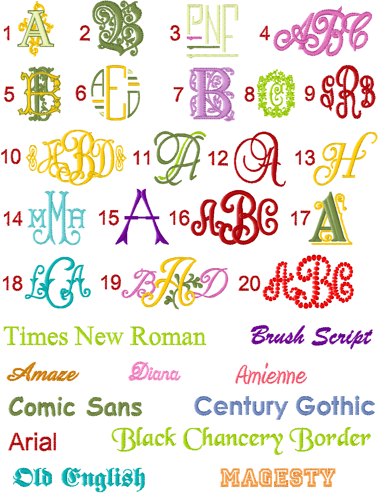 Standard Fonts